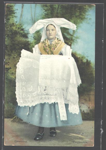 schöne AK Spreewald, Taufpatin in Tracht 1911
