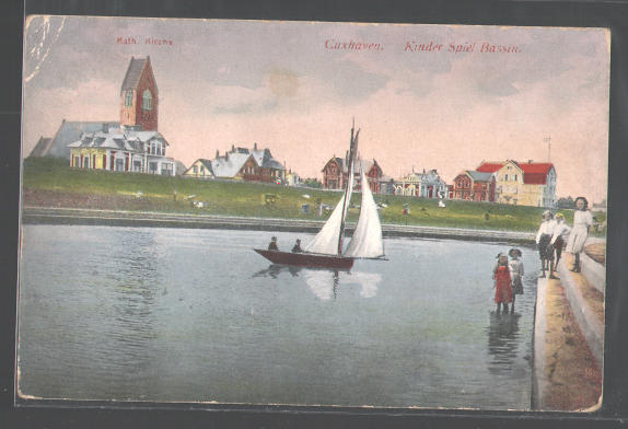 Postcard Cuxhaven , Children Play, Game Bassin , The Cathode . Church