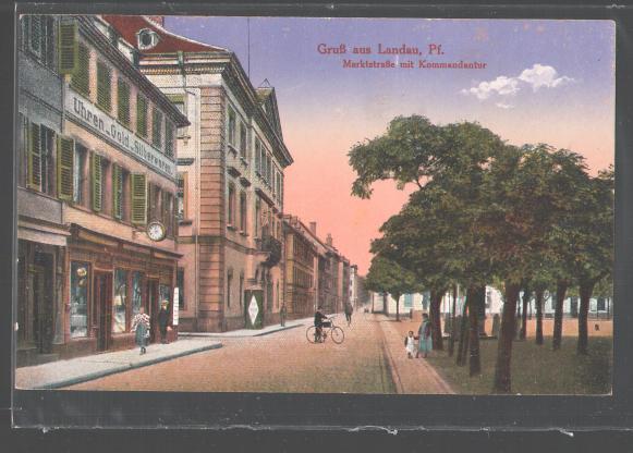 Postcard Landau , Marktstra�e With Kommandatur , Bargain Watches - Gol