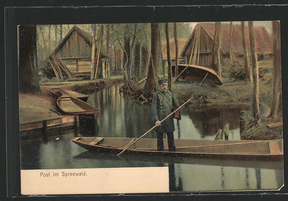 schoene-AK-Postboot-im-Spreewald
