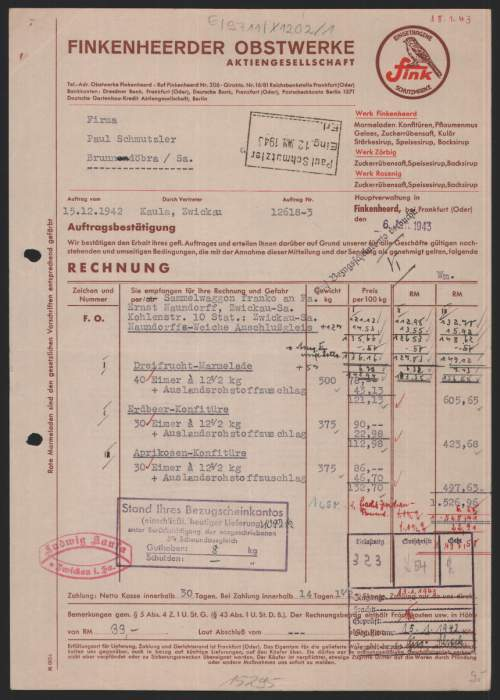 rechnung finkenheerd 1943 finkenheerder obstwerke fi. Black Bedroom Furniture Sets. Home Design Ideas