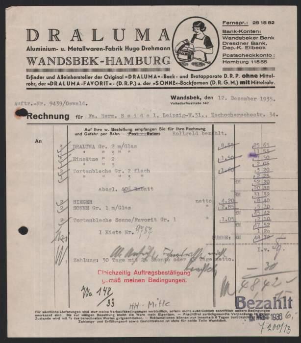 rechnung hamburg 1935 drehman draluma aluminium und ebay. Black Bedroom Furniture Sets. Home Design Ideas