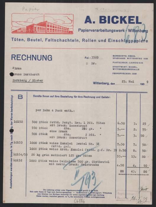 rechnung wittenberg 1939 a bickel. Black Bedroom Furniture Sets. Home Design Ideas