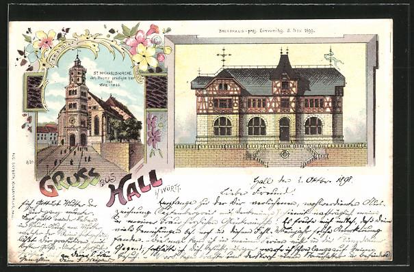 schoene-Lithographie-Hall-Brenzhaus-St-Michaeliskirche-1898