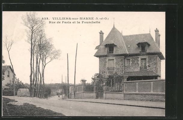 Splendide cpa villiers sur marne rue de paris et la fourchette ebay for Casa villiers sur marne