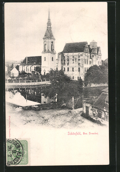 tolle-AK-Schoenfeld-Teilansicht-mit-Kirche