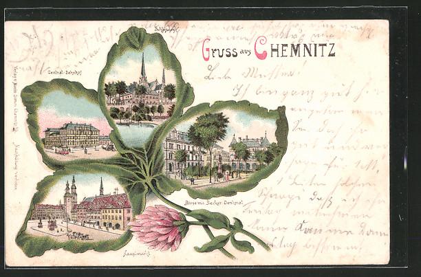 Passepartout-Lithographie-Chemnitz-Central-Bahnhof-Schlossteich-Boerse-mit-Bec