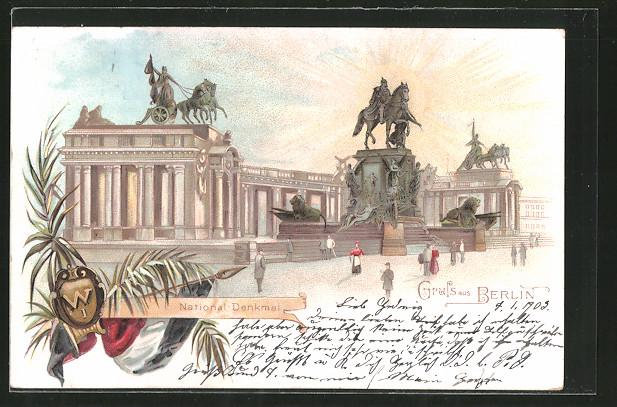 Lithographie-Berlin-National-Denkmal-Kaiser-Wilhelm-I-Nationalfahne-1903