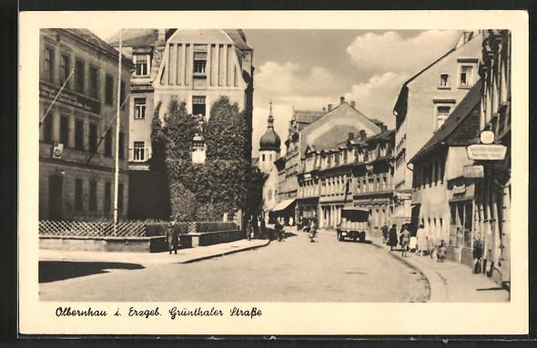 AK-Olbernhau-Strassenleben-auf-der-Gruenthaler-Strasse-1956