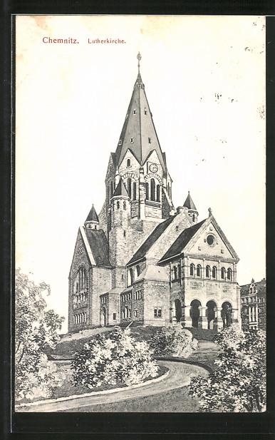 AK-Chemnitz-Blick-auf-die-Lutherkirche-1908