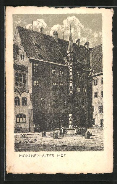 Kuenstler-AK-Muenchen-Alter-Hof-mit-Brunnen