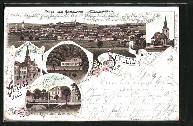 Lithographie-Schleiz-Rathaus-Bergkirche-Villa-Luginsland-Heinrichsruh-1897