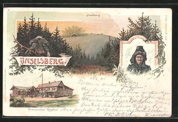 Sonnenschein-AK-Inselsberg-Preussischer-Gasthof-Blick-zum-Inselsberg-1901