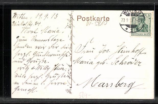 AK-Witten-Bahnhofstrasse-mit-Postamt-1913