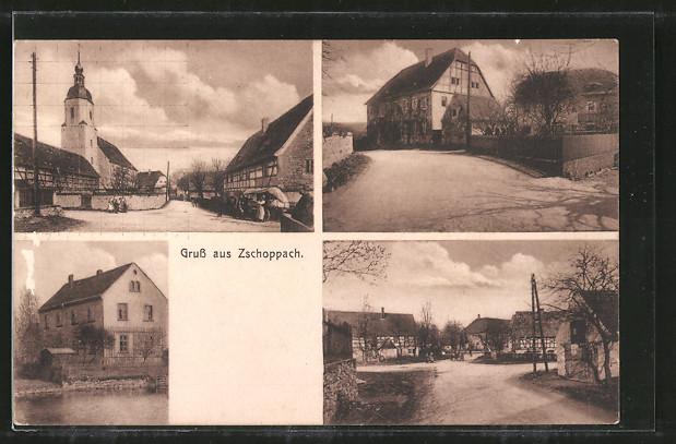 AK-Zschoppach-Strassenpartie-mit-Kirche-Ortspartie-im-Zentrum