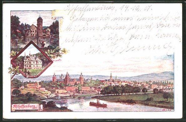 Lithographie-Aschaffenburg-Totalansicht-1901