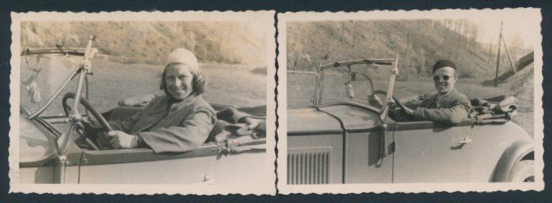 2 Fotografien Auto Fiat Cabrio, Paar Abwechselnd Am Steuer Des Offenen Pkw´s Reich An Poetischer Und Bildlicher Pracht