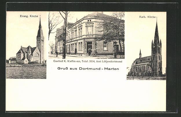 AK DORTMUND-MARTEN, EV. Kirche, kath. Kirche, Gasthof K