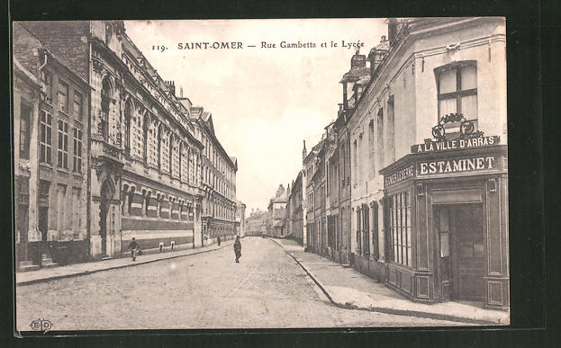 cpa saint omer rue gambetta et le lyc e 1915 ebay. Black Bedroom Furniture Sets. Home Design Ideas