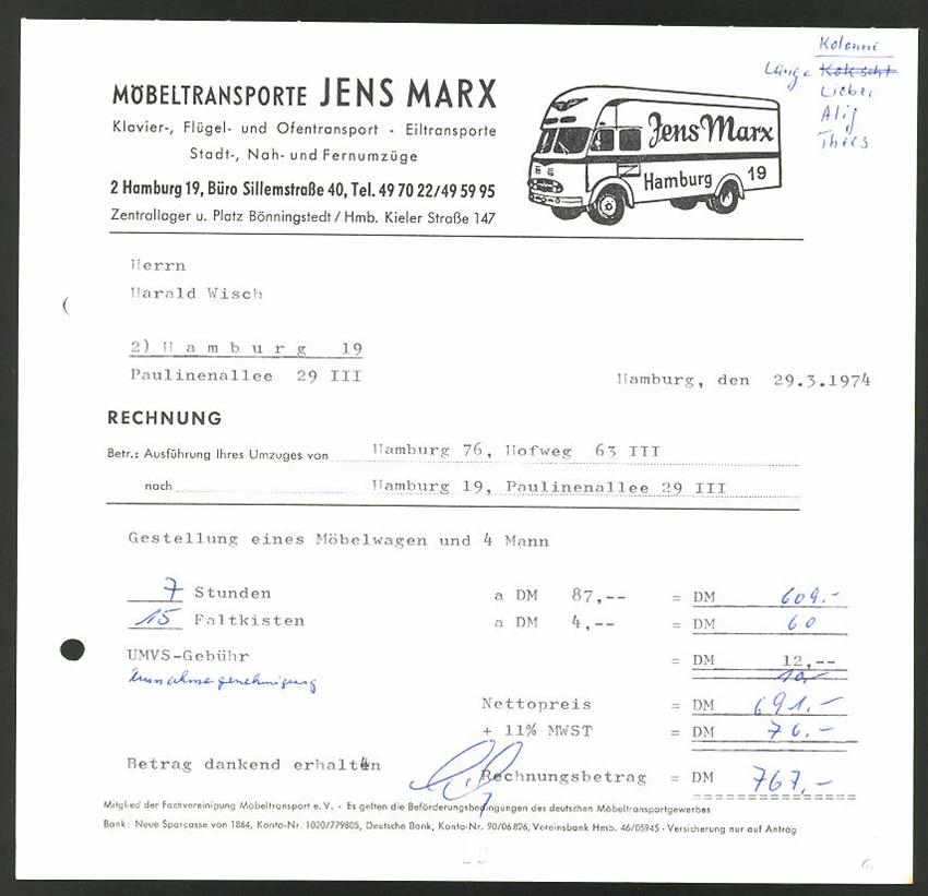 rechnung hamburg 1974 m beltransporte jens marx mercedes. Black Bedroom Furniture Sets. Home Design Ideas